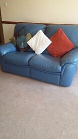 Italian leather 2x2 seater blue reclining sofas