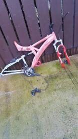 Mountain bike frame and wheels need a bit of work