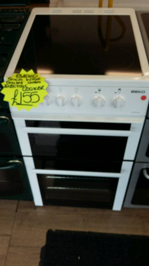 BEKO WHITE 50CM WIDE DOUBLE OVEN ELECTRIC COOKER