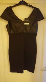 TOPSHOP Black leather style bodycon dress. size 14. BRAND NEW WITH TAGS rrp £40