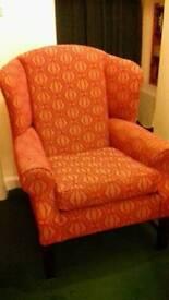 Wingback armchair.