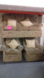 Beige Floral Suite. 3 Seater Settee & 2 Chairs.... EXCELLENT Condition. ...Local Delivery.