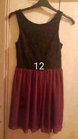 Size 12 black/burgandy dress
