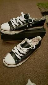 Faux leather kids trainers