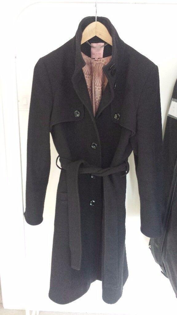 a8b355ddee01e Ted Baker black wool coat  Size 14
