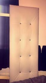 Faux White Leather & Diamanté Double Headboard