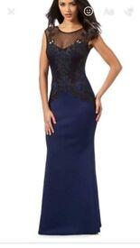 Navy Lipsy lace fishtail dress - size 10