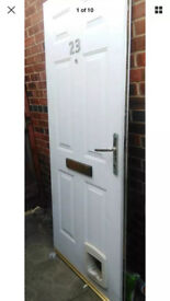 White Composite Rock Door and Frame with Cat Flap. Steel Lined,