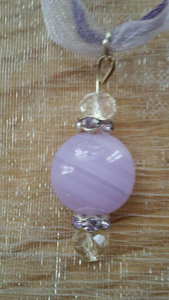 New Handmade Lilac Beaded Necklace on Lilac adjustable organza necklace.
