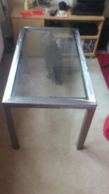 hand made brushed steel and glass coffee table, side table bargain £20ono