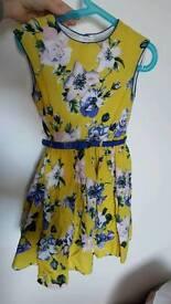 TU yellow and blue dress 6yrs