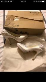 White Satin Wedding Shoes - Size 5 BNIB