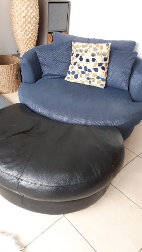 Large Next round swivel cuddle chair with leather half ...
