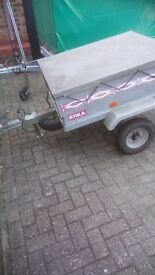 Erka camping trailer 300kg,with spare wheel and stand, with a flat cover