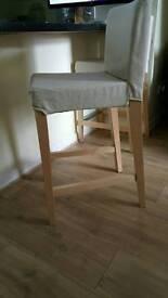 2 ikea HENRIKSDAL bar stools with backrests