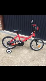 "Btwin 16"" inch super hero boys bike with stabilizers"