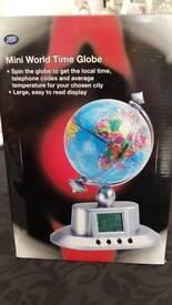 Mini world time globe clock