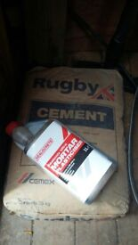 1 unopen bag and one nearly full open bag cement and plasticiser