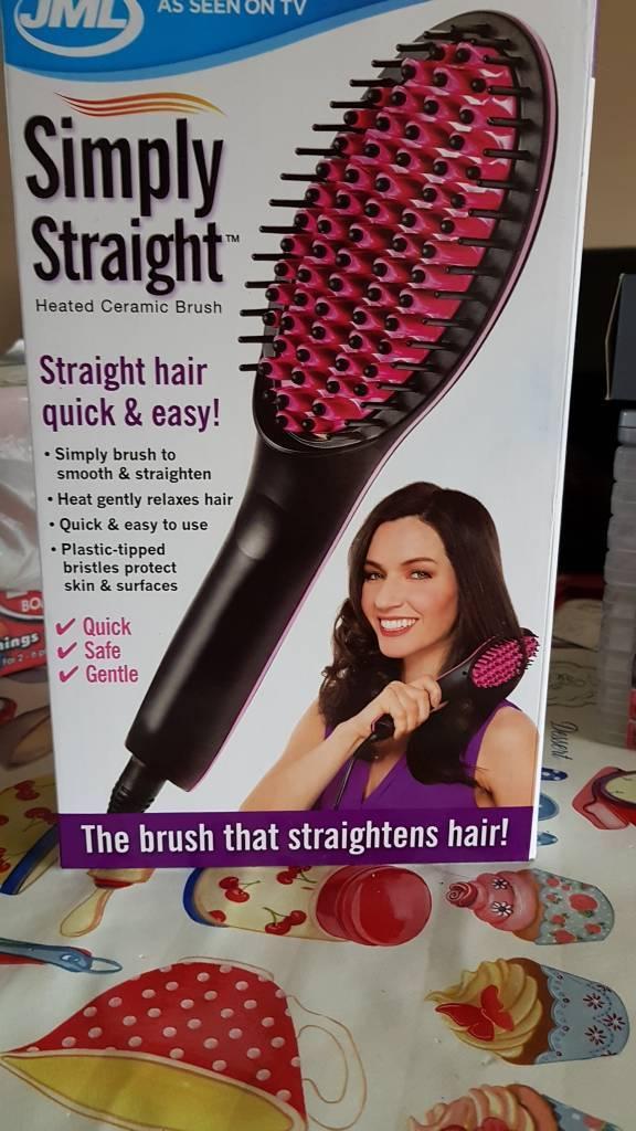Heated brush straighter