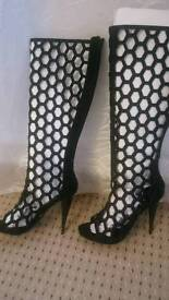 Knee height sexy elegant heels, size 5