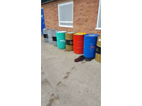 Empty steal oil drum barrels for sale can cut your barrel for BBQ wood burner and deliver..