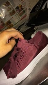 Burgundy satin converse size 4 brand new haven't been worn paid £55 looking for £25