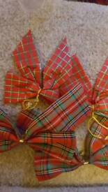 Christmas tartan bows 50 for tree