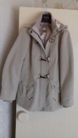 Ladies Cream Coat with Hood - Size 14