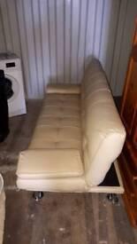 Cream leather double sofa bed
