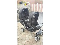 Graco Stadium Duo Tandem Double buggy with raincover and foot muff