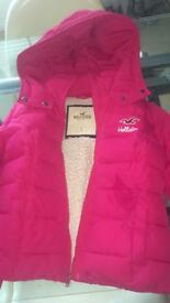 Women's pink winter hollister coat size Small