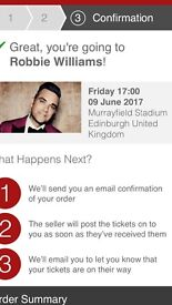 Robbie Williams. Murryfield 9th June. Seated