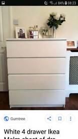 Malm white 4 drawer chest
