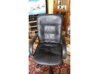 Adjustable Black Leather Office Chair RRP £50