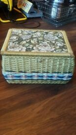 LOOK bargain Beautiful woven silk lined sewing box £8