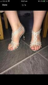 Silver Diemonte Prom Pageant Heels Size 5