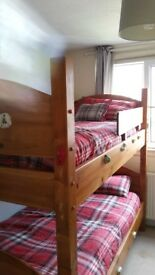 Solid wood bunk beds with matresses