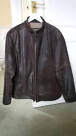 Men's brown leather bomber jacket - biker style - size Large