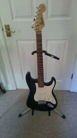 Black 1997 squier by fender affinity stratocaster electric guitar