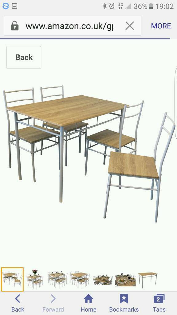 Dining table and chairs flat packed