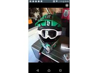 Motorbike helmet and glasses