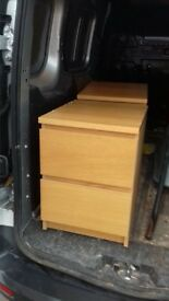 oak veneered bedside double drawers x 2