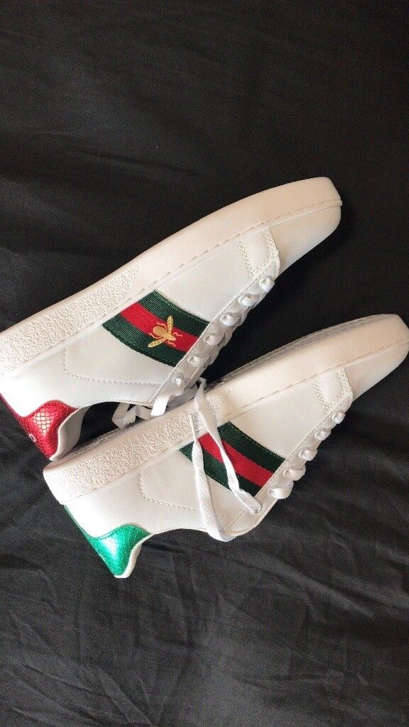 d01f68f0b5c GUCCI Ace watersnake-trimmed embroidered leather sneakers