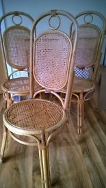 Set of 3 RATTAN WICKER CHAIRS conservatory