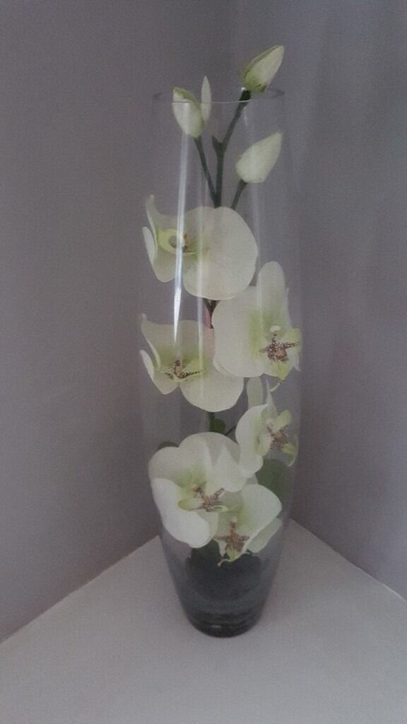 Glass Vase With Artificial Orchid Flowers Inside In Olton West