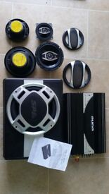 Auna car stereo amplifier and speakers