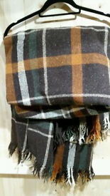 True Vintage Retro Wool Blanket Check Throw