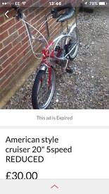 """AMERICAN CRUISER 20"""" 5SPEED £30 ONLY"""