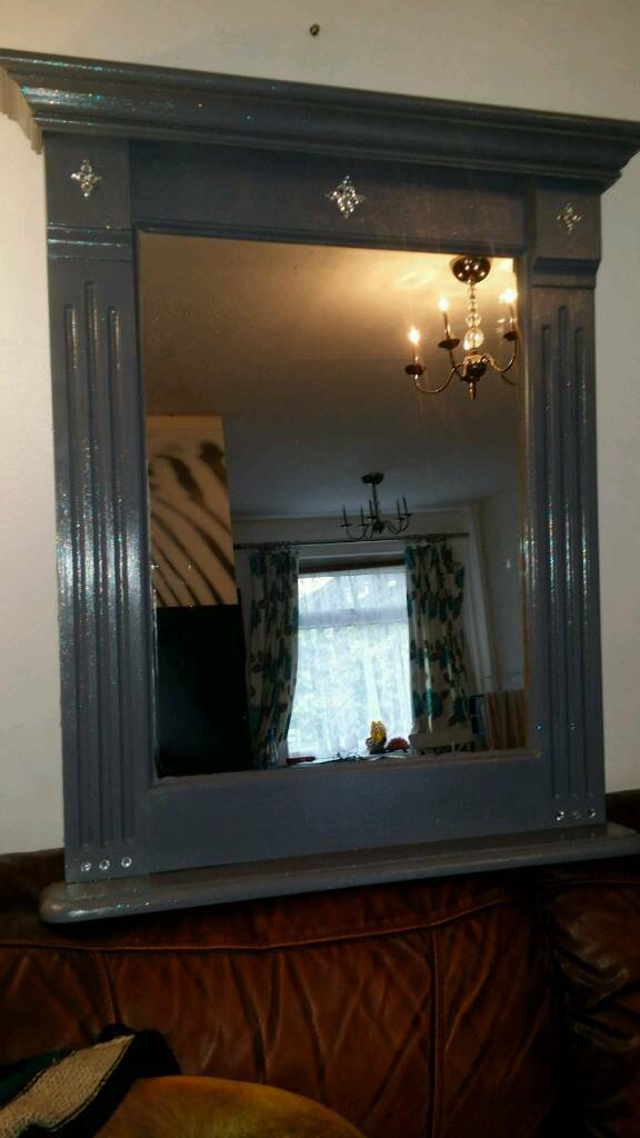SOLID PINE MIRRORin Bedford, BedfordshireGumtree - Solid pine mirror in pebble chalk with sparkle. 82cm high x 71cm wide