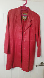 Ladies Long Coat/Jacket RED -Italian cut, Turkish Fine Leather - New -Unwanted Gift